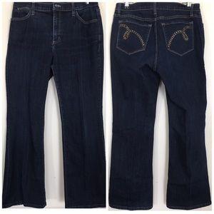 NYDJ Size 10 Dark Wash Embellished Back Pockets